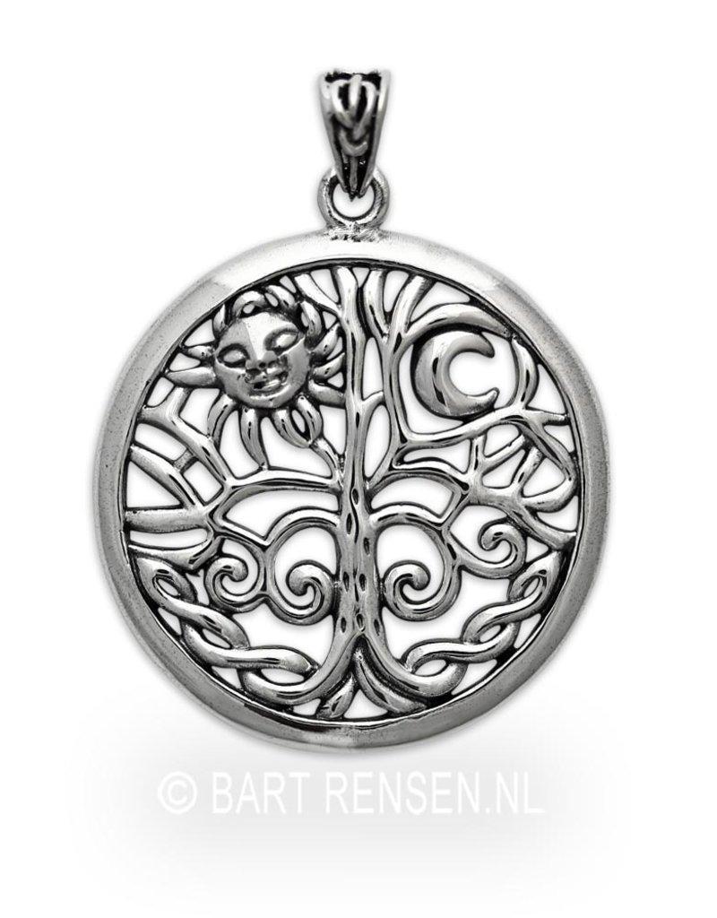 Levensboom hanger Zon en Maan - echt zilver