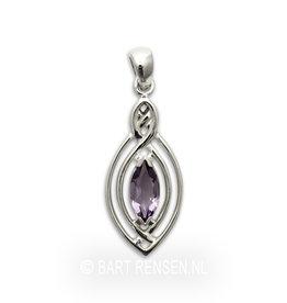 Zilveren Keltische hanger met edelsteen