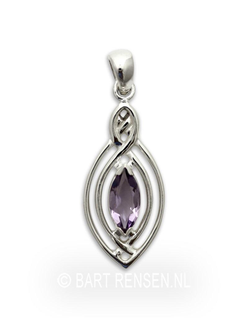 Keltische hanger met edelsteen - echt zilver