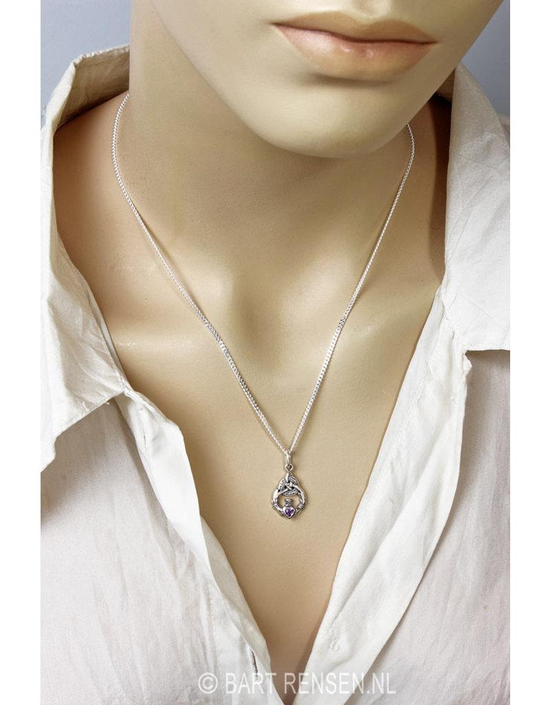 Claddagh Oorhangers met steen - echt zilver