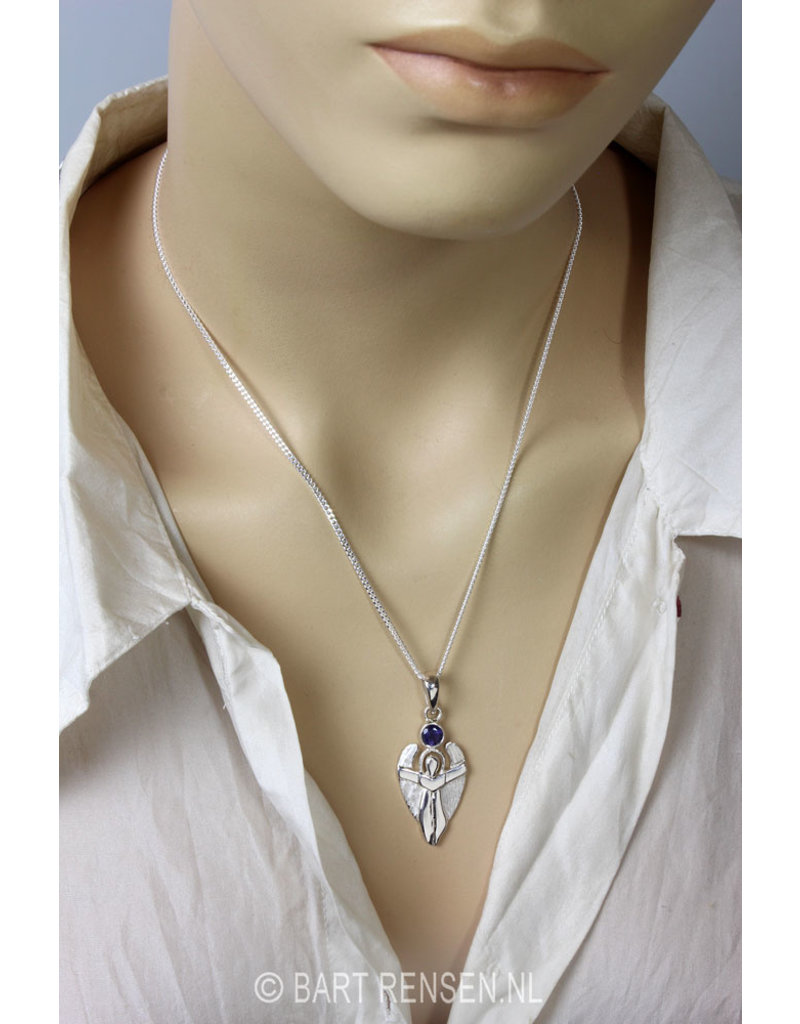 Angel pendant with stone - sterling silver