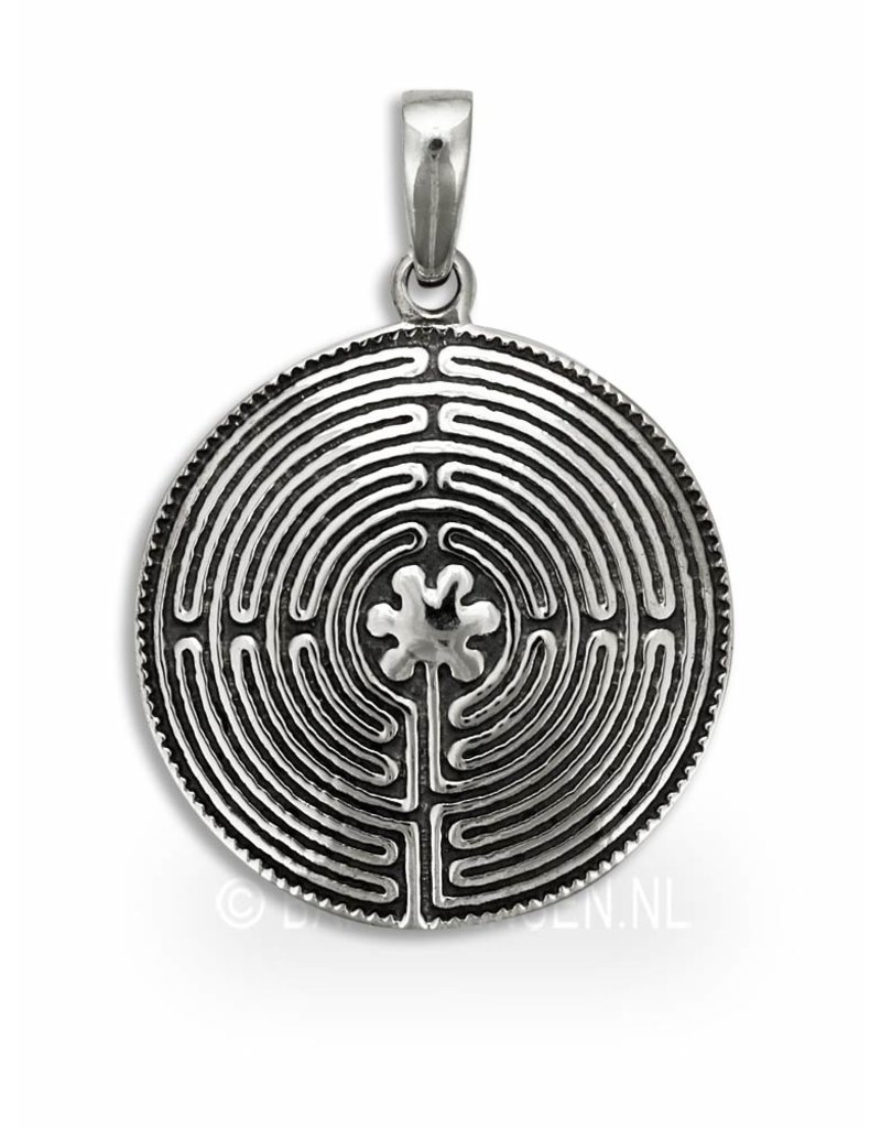 Labyrinth pendant - sterling silver