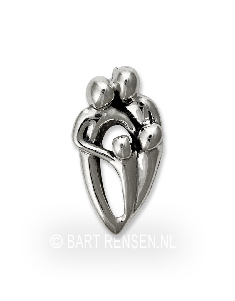 Parents and 2 Children pendant - sterling  silver