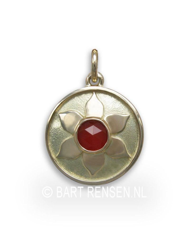Heiligbeen Chakra hanger - carneool - 14 krt goud