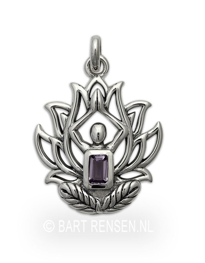 Lotus Yoga pendant with Amethyst - sterling  silver