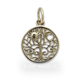 Golden Tree of Life pendant Sun and Moon