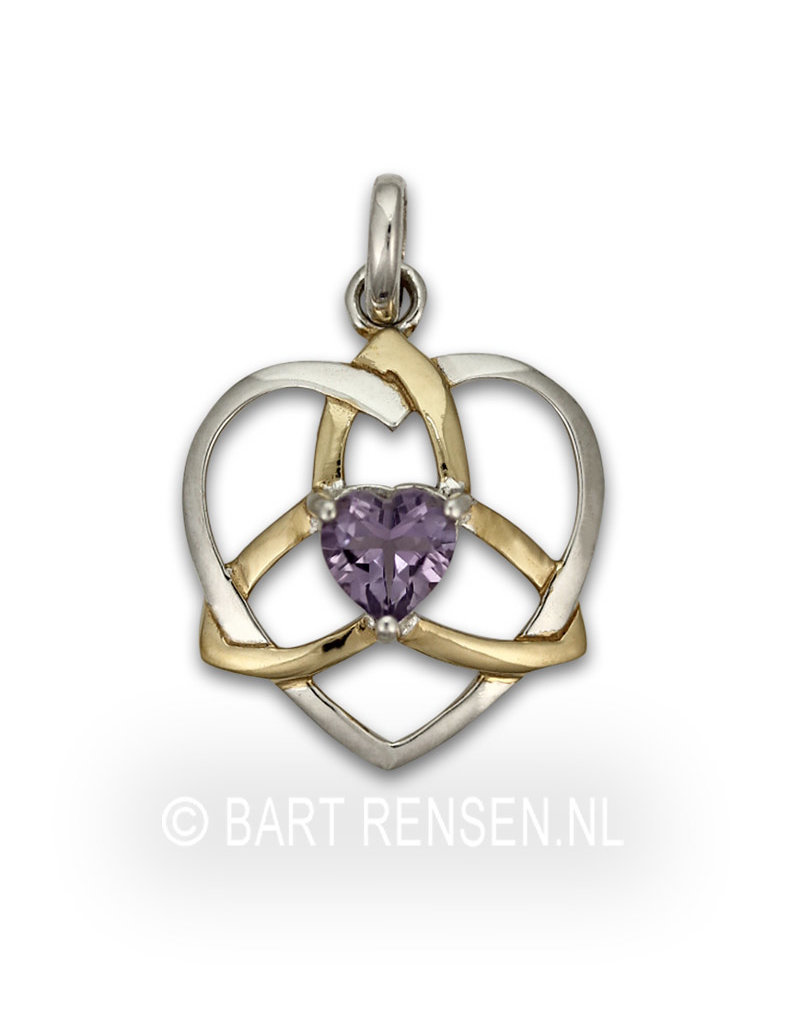 Triquetra pendant - sterling silver, partly gold-plated, with Amethyst