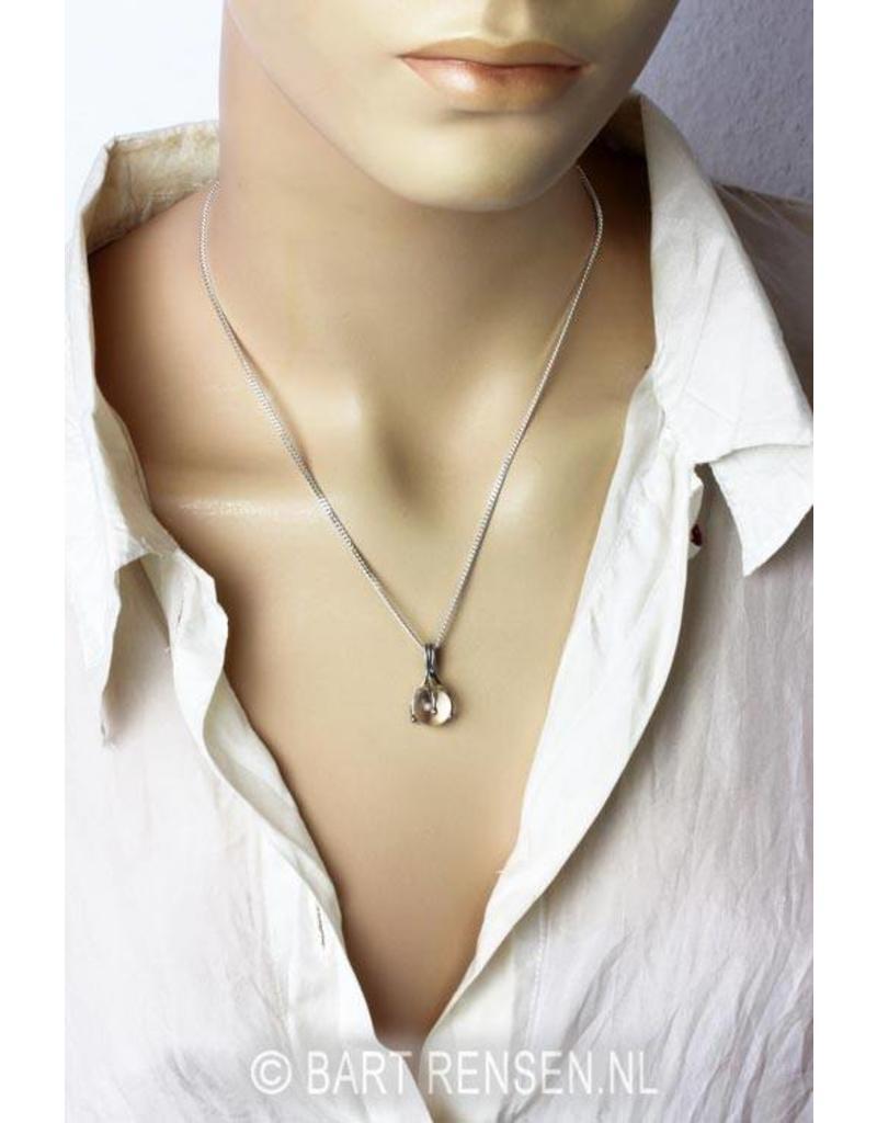 Hanger met edelsteen bol - echt zilver