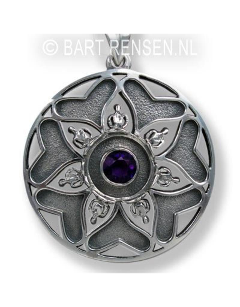 Mandala hanger met steen - echt zilver