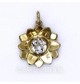 Gouden Lotus hanger met steen