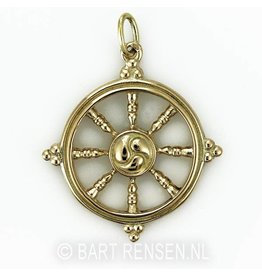 Golden Dharma wheel pendant -