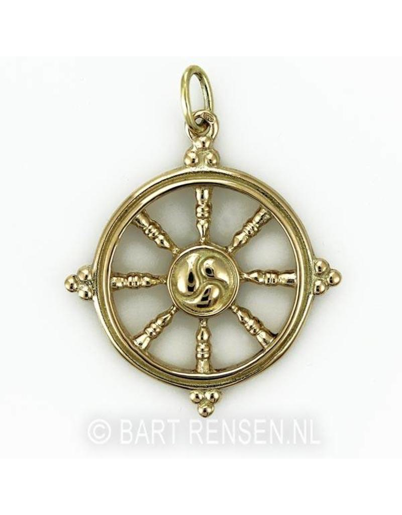 Dharma wheel pendant - 14 carat gold