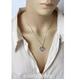 Buddha tree leaf pendant - sterling silver