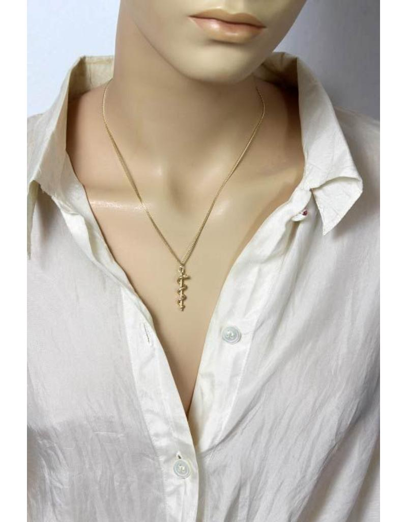 Rod of Asclepius pendant  - 14 carat gold