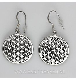 Flower of Life oorhangers - zilver