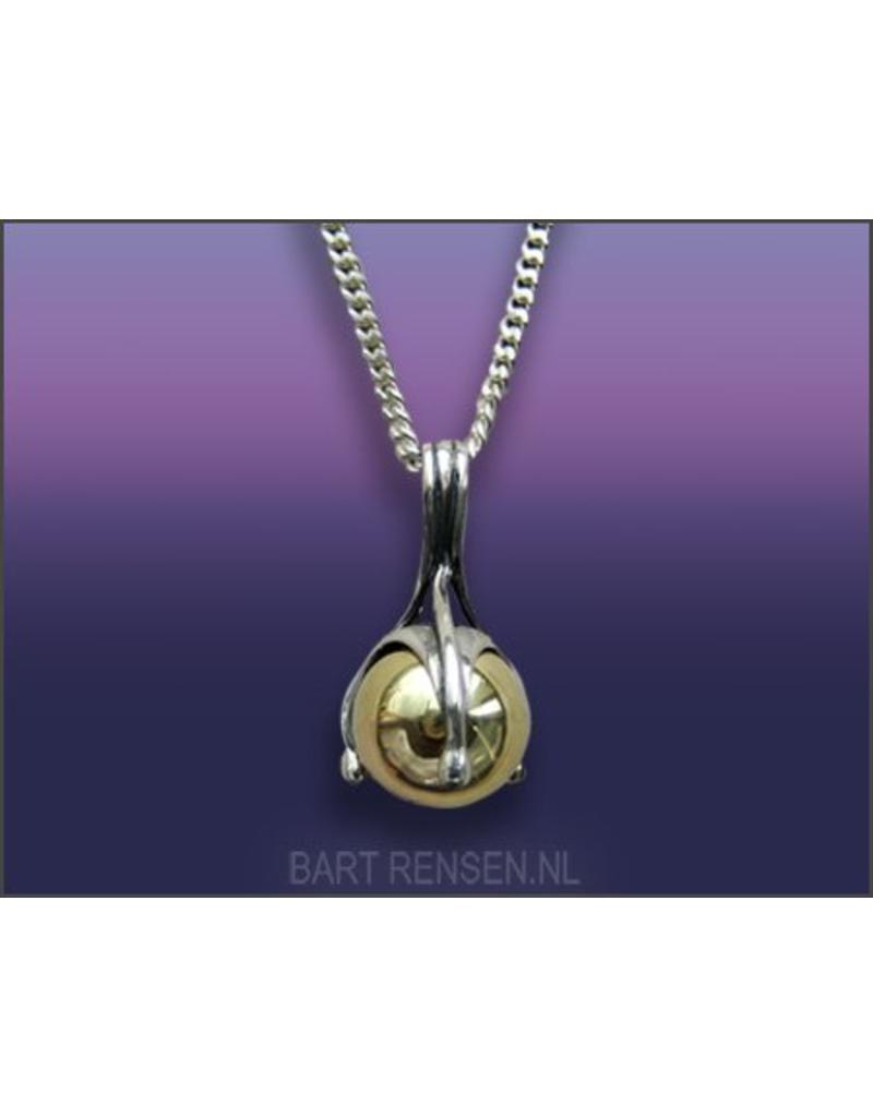 As hanger - zilver met gouden Bol