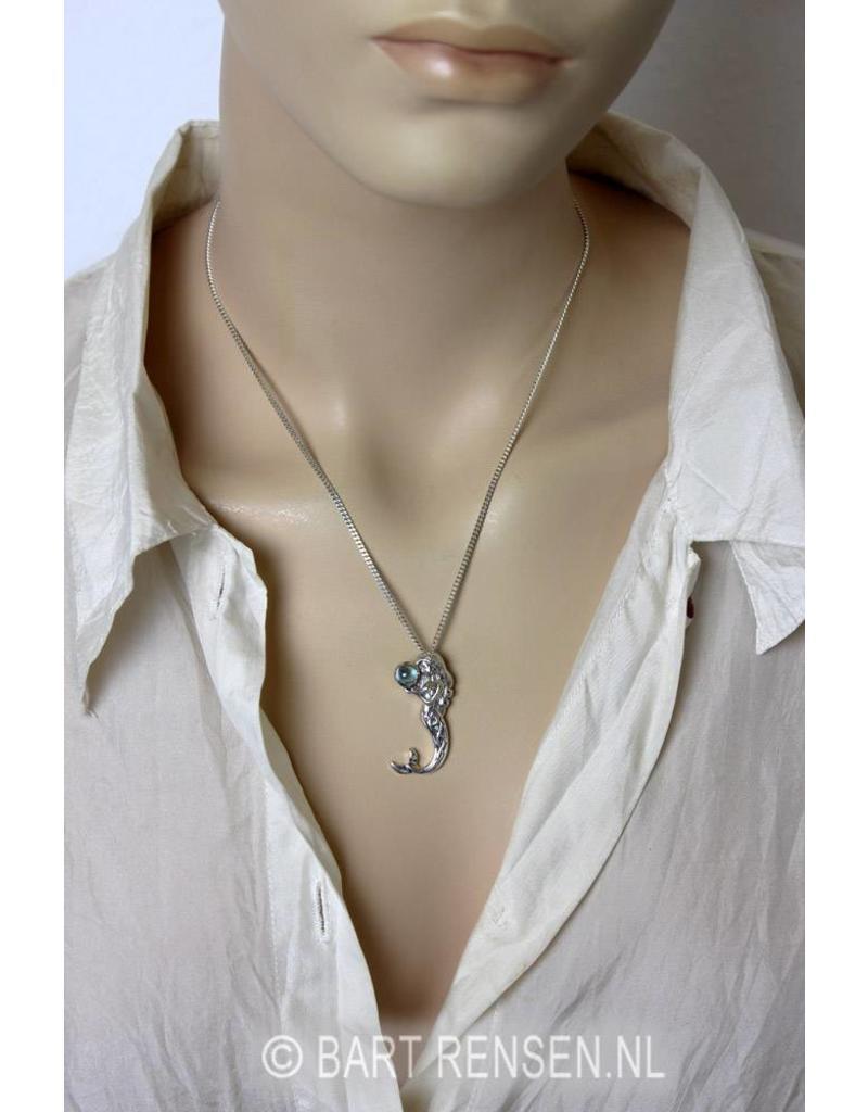 Zeemeermin hanger met edelsteen - echt zilver