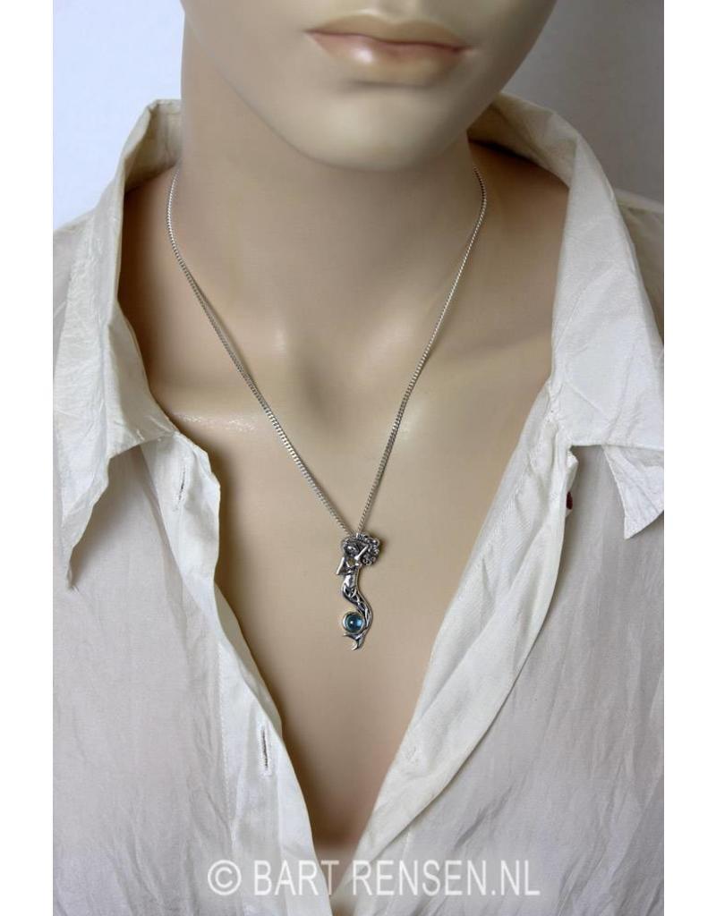 Zeemeermin hanger met steen - echt zilver