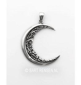 Maan hanger met versiering - Zilver