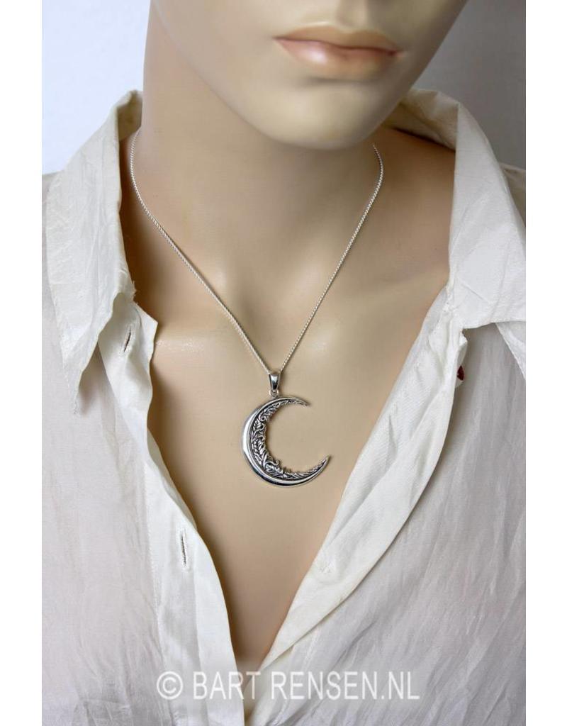 Maan hanger met versiering - echt zilver