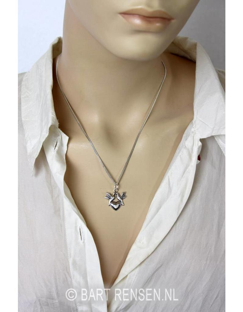 Hart hanger met 2 duifjes - echt zilver