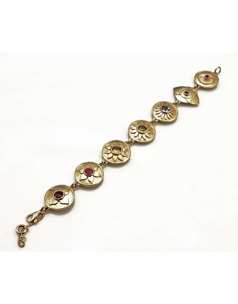 Chakra bracelet with Gemstones - 14 carat gold