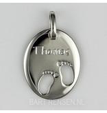 Birth pendant - sterling silver