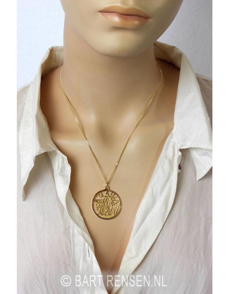 Pentagram Tetragammaton hanger - 14 krt goud