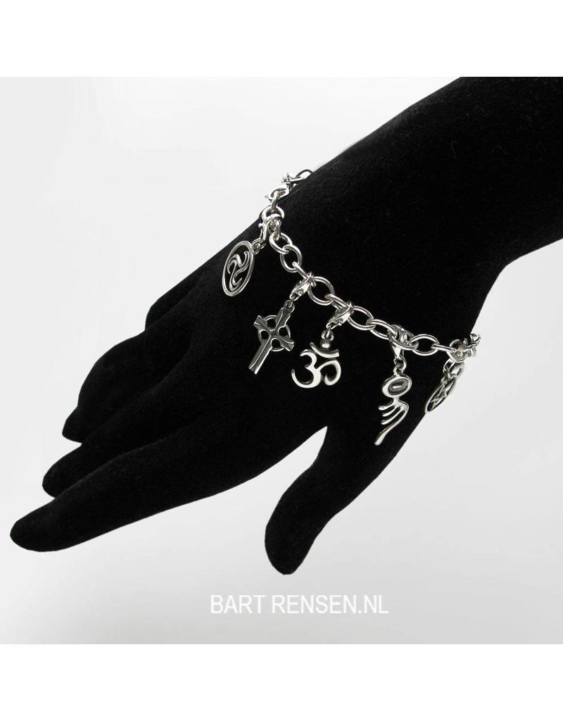 Tibetan Knot charm - sterling silver