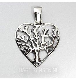 Levensboom Hart hanger-zilver