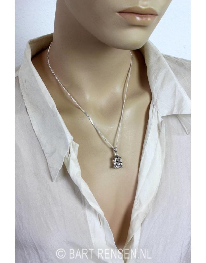 Silver bird cage pendant