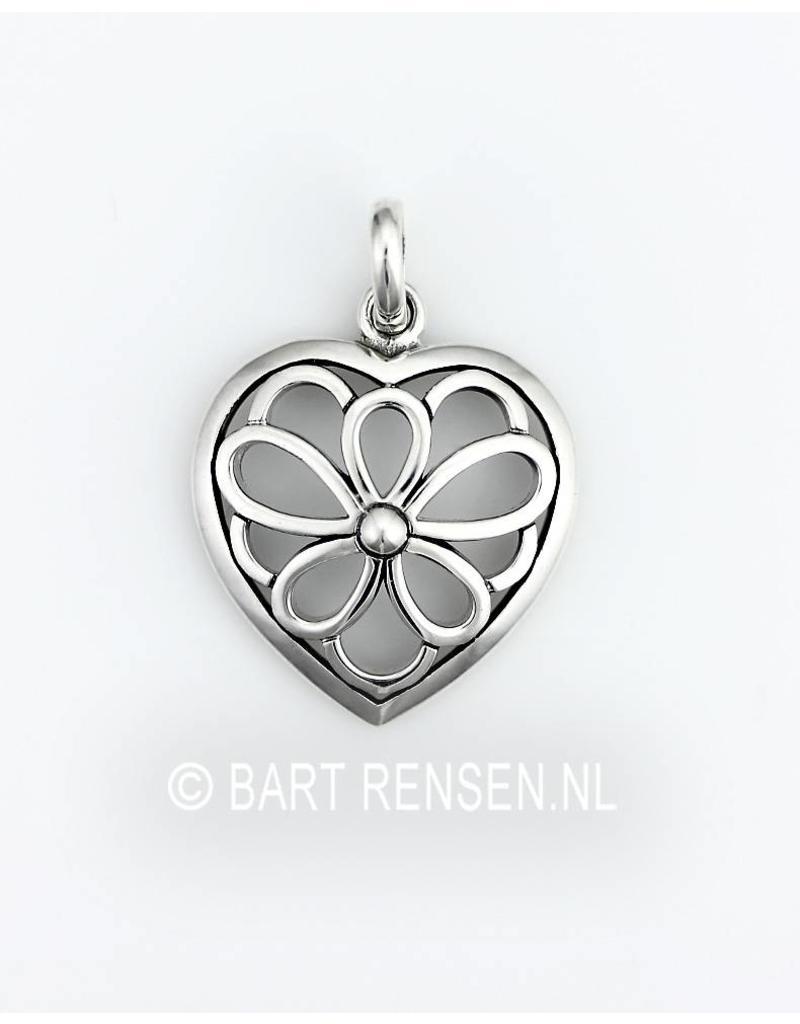 Heart Flower pendant - sterling silver