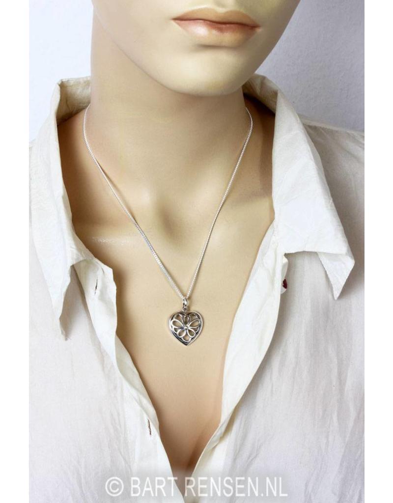 Hart Bloem hanger-echt zilver