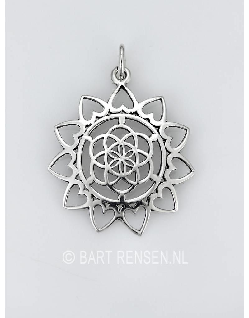Seed of Life Lotus pendant-silver or 14 krt gold