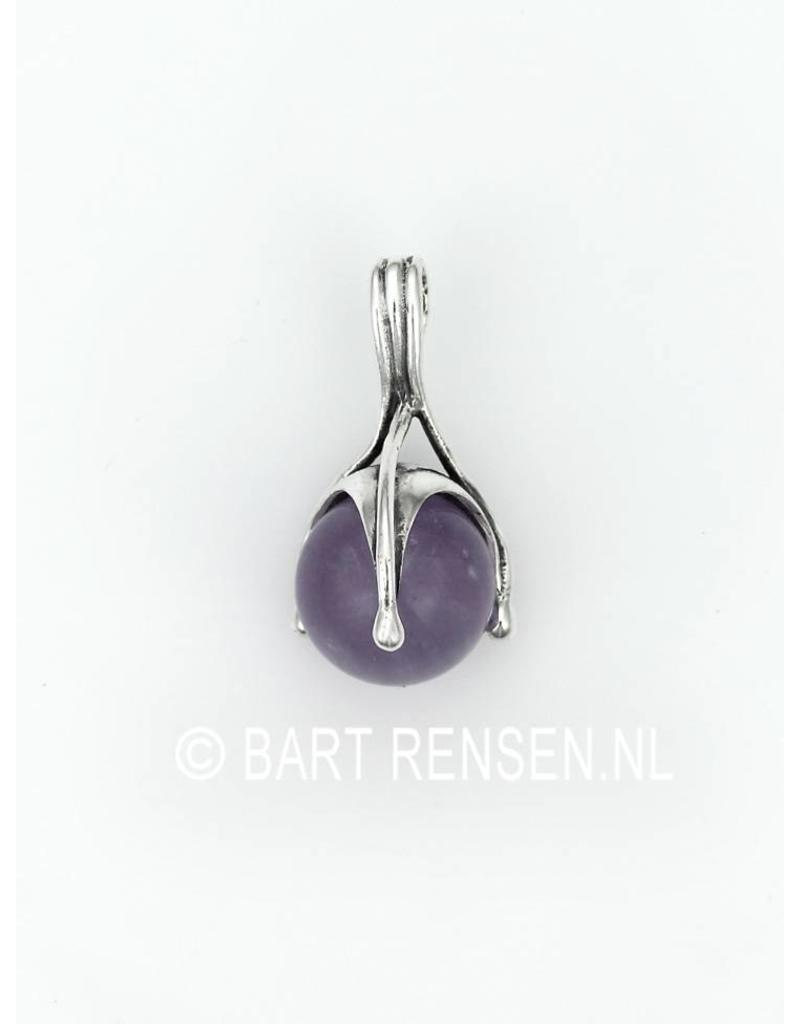 Pendant with gemstone ball - sterling silver