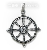 Dharma wheel pendant - sterling silver