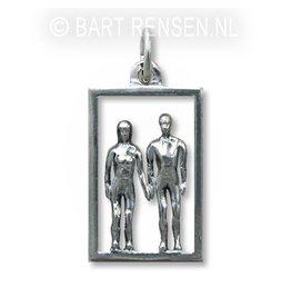 Man-Vrouw hanger - zilver