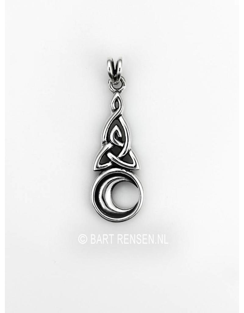 Triquetra pendant with moon-sterling silver