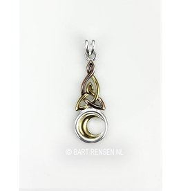 Triquetra pendant with moon - silver