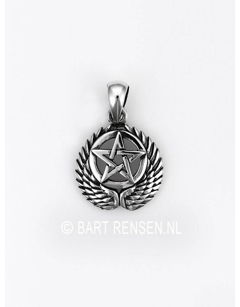 Winged Pentagram pendant - sterling silver