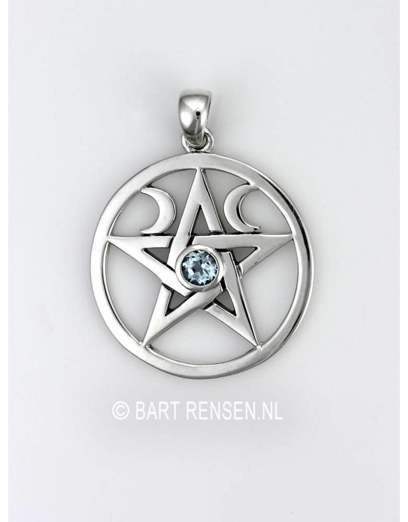 Pentagram Moon pendant - sterling silver