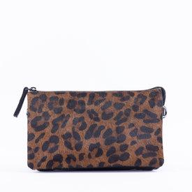 DSTRCT DSTRCT Wild schoudertasje leopard bruin