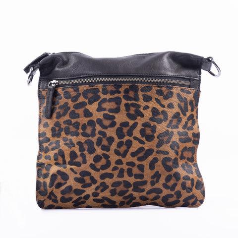 DSTRCT Wild schoudertas groot leopard bruin