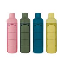 Wasserflasche mit Pillendose, 1 Tag, 4 Fächer