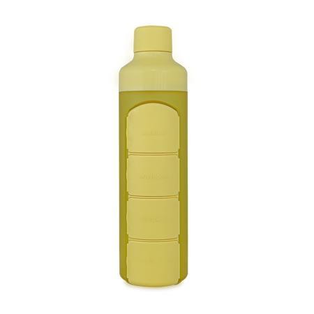 YOS Bottle Wasserflasche mit Pillendose, 1 Tag, 4 Fächer