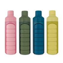 Wasserflasche mit Pillendose, 1 Woche, 7 Fächer