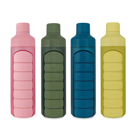 YOS Bottle Wasserflasche mit Pillendose, 1 Woche, 7 Fächer