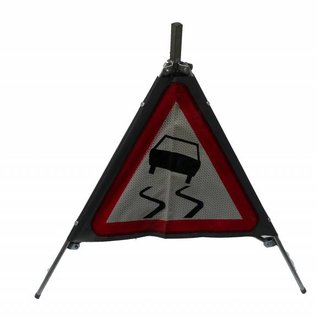 Three sided traffic sign slippery road A15