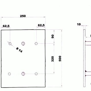 Rubber stootblok voor laadkades - 500 x 250 x 105 mm