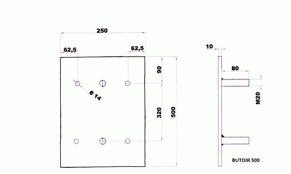Butée de quai en caoutchouc -500 x 250 x 105 mm